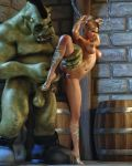 1male 3d blonde_hair breasts high_heels ogre pussy