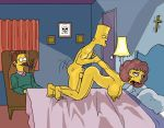 ahegao bart_simpson bed breasts cross cuckold doggy_position lamp maude_flanders ned_flanders nude smile the_fear the_simpsons voyeur yellow_skin