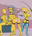 ass bart_simpson belle bent_over big_penis bondage boots breasts crop cum femdom hands_behind_back incest lisa_simpson old_and_young penis pussy smile the_fear the_simpsons yellow_skin
