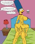 anal ass bart_simpson bed big_breasts big_penis breasts cowgirl_position incest lamp looking_back marge_simpson nude pearls penis smile the_fear the_simpsons yellow_skin