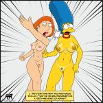 breasts crossover family_guy fight lois_griffin marge_simpson nude pussy the_simpsons tropicoboy_(artist)