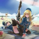 3girls atago_(kantai_collection) bat beach black_gloves black_hair black_legwear black_panties blindfold blonde_hair blue_eyes blush breasts ceda_(dace) feet female food fruit gloves green_eyes hat huge_breasts innertube kantai_collection large_breasts leg_up long_hair military military_uniform multiple_girls no_shoes open_mouth panties pantyhose personification red_eyes rensouhou-chan sand shimakaze_(kantai_collection) short_hair sitting sweat takao_(kantai_collection) thighhighs toes underwear uniform watermelon
