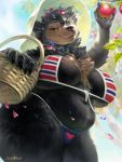 1girl 1girl anthro apple basket belly big_breasts bikini breasts chest_tuft flower food fruit green_eyes levelviolet mammal neck_tuft plant slightly_chubby straw_hat thick_thighs tuft ursid voluptuous wide_hips