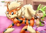 1girl arcanine bent_over black_eyes breasts chespin nude orange_fur palcomix pokemon pokepornlive vaginal_penetration yellow_fur
