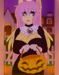 1girl 1girl 2018 anthro breasts cleavage clothed clothing equine fangs feathered_wings feathers fluttershy_(mlp) friendship_is_magic furry gif hair halloween holding_object holidays long_hair looking_at_viewer mammal my_little_pony pegasus tolsticot wings