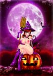 bat boots breasts broomstick flying gloves hairless_pussy halloween hat jack-o'-lantern long_hair nipples nude pumpkin purple_lipstick pussy red_eyes red_hair sitting tattoo witch witch_hat