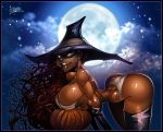 bent_over boots bra breasts brown_eyes cleavage full_moon gloves halloween long_hair panties pumpkin smile wagner wagner witch witch_hat