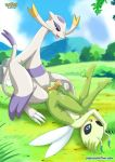 blue_eyes breasts celebi claws cum female hetero male mienshao outside penis pokemon red_eyes tongue tongue_out