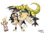 2013 female gerph gerph_(artist) haxorus hilda pokemon pokemon_bw porkyman touko_(pokemon) white