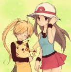 2girls bare_shoulders blonde_hair blue_(pokemon) blue_eyes blush brown_hair chuchu_(pokemon) closed_eyes flower hair hair_flower hair_ornament hand_on_hat hand_on_headwear happy hat headgear holding long_hair lowres multiple_girls no_hat no_headwear open_mouth payot pikachu pokemon pokemon_special ponytail porkpie_hat sidelocks skirt sleeveless smile turtleneck wristband yellow_(pokemon)