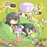 3girls bag caitlin cattleya_(pokemon) chibi doughnut elite_four food french_fries gym_leader hamburger hat liza long_hair multiple_girls munna natsume_(pokemon) paper_bag pokemon pokemon_(game) pokemon_black_and_white pokemon_bw pokemon_hgss pokemon_rse ran_(pokemon) reuniclus sabrina sitting solosis telekinesis ueshita