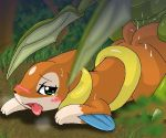 blush cum dirt female fins floatzel grass green_eyes male open_mouth pokemon pokã©mon scyther sweat tear tongue tree