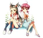 2_girls 2girls ahoge akane_(pokemon) alternate_costume arm arm_support arms art artist_request bare_legs black_socks bow brown_eyes brown_hair cosplay costume_switch denim denim_shorts dress feet female footwear gym_leader hair_bobbles hair_ornament jasmine_(pokemon) legs long_hair long_sleeves looking_at_another low_twintails mikan_(pokemon) multiple_girls neck nintendo open_mouth pink_eyes pink_hair pokemon pokemon_hgss ribbon sandals shirt short_hair short_shorts shorts simple_background sitting smile sneakers socks striped striped_socks twintails white_background whitney wristband young