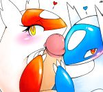 bisexual blush erection fellatio female group heart human interspecies latias latios licking looking_at_viewer male mutsurf nintendo open_mouth oral oral_sex penis plain_background pokemon pokephilia red_eyes sex threesome tongue video_games white_background yellow_eyes