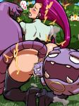anal anal_insertion anal_object_insertion anus arbok ass blue_eyes blush boots creature_inside furry habatakuhituji high_heel_boots high_heels insertion jessie long_hair meowth monster musashi_(pokemon) object_insertion pokemon pussy red_hair team_rocket vaginal vaginal_insertion vaginal_object_insertion weezing
