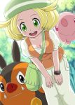 1girl :d bag bel_(pokemon) beret blonde_hair breasts cleavage forest green_eyes hat leaning_forward munna nature open_mouth pignite pokemoa pokemon pokemon_(game) pokemon_black_and_white pokemon_bw smile soara vest