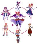 6+girls bare_shoulders bat_wings boots braid breasts cleavage corset cutoffs demon_girl disgaea dragon_quest dragon_quest_viii dress elbow_gloves etna fusion gloves hexafusion highres jessica_albert jessica_albert_(dragon_quest) knee_boots large_breasts long_hair makai_senki_disgaea multiple_girls navel open_mouth pantyhose pink_gloves pointy_ears purple_shirt rebecca_streisand red_eyes red_hair robert_porter shiny shiny_skin shirt short_shorts shorts smile strapless_dress taut_clothes taut_shirt thighhighs thighhighs_over_pantyhose twintails wild_arms wild_arms_5 wings
