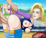 android_18 big_ass big_breasts blonde_hair cum cum_in_pussy cum_inside dragon_ball dragon_ball_z pants_down pinkpawg x-ray