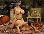 3d anal_penetration ass big_breasts blackadder breasts comics incest lesbian navel osira queen_opala slutty strap-on threesome whores