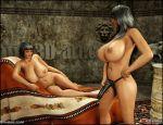 3d ass big_breasts blackadder breasts comics lesbian navel osira queen_opala slutty strap-on threesome whores