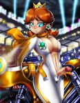 big_breasts bodysuit breasts futanari motorcycle princess_daisy shadman solo super_mario_bros. therealshadman_(artist) twistedgrim_(artist)
