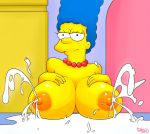 breasts huge_breasts lactation marge_simpson milf necklace nipples pbrown tagme the_simpsons yellow_skin