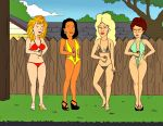 bikini breasts cleavage didi_hill earrings fence high_heels king_of_the_hill minh_souphanousinphone nancy_hicks_gribble peggy_hill