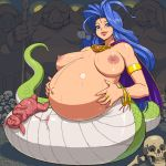 1girl aliasing big_breasts birth blue_eyes blue_hair bone breasts breasts_apart breath_of_fire breath_of_fire_i breath_of_fire_ii breath_of_fire_iii breath_of_fire_iv cape deis fetus jewelry lamia large_breasts long_hair looking_at_viewer lots_of_jewelry monster monster_girl nipples pig pregnant skull smile snake solo tenseiani