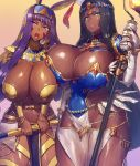 2_girls animal_ears arm_wrap bandage bandaged_arm bandages bangs black_hair bracelet breastplate breasts bridal_gauntlets chains circlet cleavage covered_navel dark-skinned_female dark_skin earrings egyptian_clothes facepaint facial_mark fate/grand_order fate_(series) feathers forehead_jewel green_eyes hair_between_eyes hairband hat hoop_earrings huge_breasts jackal_ears jewelry lantern long_hair looking_at_viewer low-tied_long_hair navel nitocris_(fate/grand_order) open_mouth parted_bangs pauldrons purple_eyes purple_hair ring scheherazade_(fate/grand_order) scroll sidelocks staff thighs usekh_collar very_long_hair