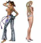 2_girls 3d arm_up armbands ass back barefoot bikini blonde_hair blue_eyes breasts brown_eyes brown_hair christie_monteiro dark_skin death_by_degrees edited fingerless_gloves hand_on_chest hand_on_head hand_on_hip high_heels long_ponytail looking_back namco necklace nina_williams nipples nonude pants ponytail sideboob simple_background single_breast single_nipple swimsuit tease tekken tekken_6 tied_hair toes topless two_girls white_background