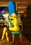 1girl 1girl ass breasts clothes color darkmatter_(artist) female_only human indoors marge_simpson nude playboy side_view sitting tagme the_simpsons