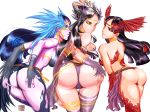 3_girls ass bent_over big_sis_louise black_hair black_sclera breasts dungeon_and_fighter dungeon_fighter_online flaming_binoche hands_on_ass head_wings huge_ass ice_locking_keraha loincloth_aside pipkiang purple_skin stockings