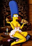 1girl 1girl breasts clothes color darkmatter_(artist) female_only food human indoors marge_simpson nipples playboy sitting tagme the_simpsons