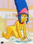 1girl blue_hair breasts darkmatter_(artist) female_only high_resolution marge_simpson mature_woman milf milf nipples nude pussy the_simpsons very_high_resolution yellow_skin