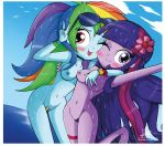2girls beach blush breasts equestria_girls multiple_girls my_little_pony nipples nude ocean pubic_hair pussy rainbow_dash sunglasses the-butcher-x twilight_sparkle wet wink