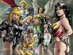 6_girls 6girls art big_breasts black_canary black_hair blond_hair boots breasts dark_skin dc dc_universe dcau earrings ed_benes female fishnet_stockings flying hair hand_on_hip hawkgirl justice_league leather_jacket long_hair looking_at_viewer looking_over_shoulder mask multiple_girls nipples pose power_girl red_lipstick short_hair smile smiling standing thong top_hat vixen wings wonder_woman wonder_woman_(series) zatanna zatanna_zatara