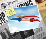 1girl alien ass blonde_hair blue_eyes boots bottomless cape dc_comics embarrassing flying long_hair looking_back newspaper no_panties skirt skirt_down supergirl wardrobe_malfunction
