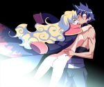 1boy 1girl ass back bad_id blue_hair blush breast_press breasts cape hug hugging large_breasts long_hair multicolored_hair naked_cape naked_coat nia_teppelin nipples nude simon smile sweat tengen_toppa_gurren-lagann tengen_toppa_gurren_lagann tensugi_takashi two-tone_hair