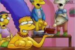 ass bent_over birthday blargsnarf breasts cake cum cumshot hands_on_ass jester marge_simpson masturbation milhouse_van_houten pearls penis richard smile testicles the_simpsons wendell_borton yellow_skin