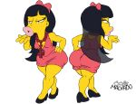ass breasts clothes cross eyelashes female hair hips jessica_lovejoy josemalvado kissing large_ass large_lips lips long_hair round_ass slut solo the_simpsons white_background whore wide_hips yellow_skin