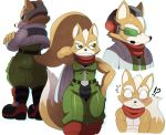 anthro arm_behind_head back belt biceps black_nose blush boots brown_fur canine clothed clothing crossed_arms flexing footwear fox fox_mccloud fur green_eyes hair half-dressed headwear jacket jumpsuit looking_at_viewer male mammal microphone model_sheet muscle nintendo no_humans pants pecs plain_background pose scarf shirt smile solo sssonic2 standing star_fox suit tan_fur toned topless video_games white_background white_fur white_hair