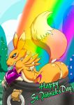 ass black_sclera blue_eyes canine cauldron digimon featureless_crotch female forest fox fur holidays kandlin looking_back mammal namco outdoors presenting rainbow rainbow_pattern renamon solo st._patrick's_day tail text tongue tongue_out tree yellow_fur