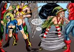 2girls alan_scott anal_insertion bent_over boots breasts courtney_whitmore cum cum_in_mouth cyclone_(dc) dc dc_comics facial fellatio green_lantern group_sex hawkman jay_garrick justice_society_of_america karmagik maxine_hunkel pants_down sex shorts_down spitroast star_spangled_kid stargirl striped_thighhighs the_flash wildcat_(dc)