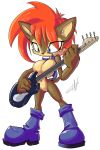 breasts guitar musical_instrument sally_acorn solo sonic_(series) thefuckingdevil_(artist)