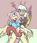 2014 anthro areola blush bottomless breasts caroo clothed clothing collar crossgender discord_(mlp) equine erection eris_(mlp) fangs feather female fluttershy_(mlp) friendship_is_magic furry girly half-dressed heart leash male mammal my_little_pony nipples nude pegasus penis piercing red_eyes shackles testicles wings