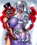 big_breasts breasts pointed_ears purple_skin syxx top_hat wedding_veil
