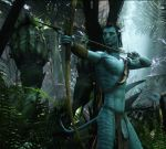 2015 abs alien archer arrow avatar biceps blue_body blue_skin bow clothed clothing edit flaccid forest hair half-dressed humanoid hunter jake_sully james_cameron's_avatar jungle knife loincloth male movie muscle na'vi navel necklace nipples pandora pecs penis photo_manipulation photomorph semi-furry testicles thurinion tree vein