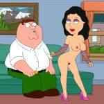 black_hair bonnie_swanson breasts bush elbow_gloves family_guy fishnet_gloves frost969 gloves heels high_heels makeup milf nipples nude peter_griffin pubic_hair pussy shoes vagina