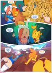 2girls adventure_time cleavage climbing comic doxy fionna_the_human flame_princess hair map multiple_girls red_hair upskirt