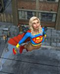 alien blonde_hair blue_eyes bottomless cape city dark_skin dc_comics embarrassing falling female flying funny girl human long_hair looking_back looking_down male poser skirt super supergirl